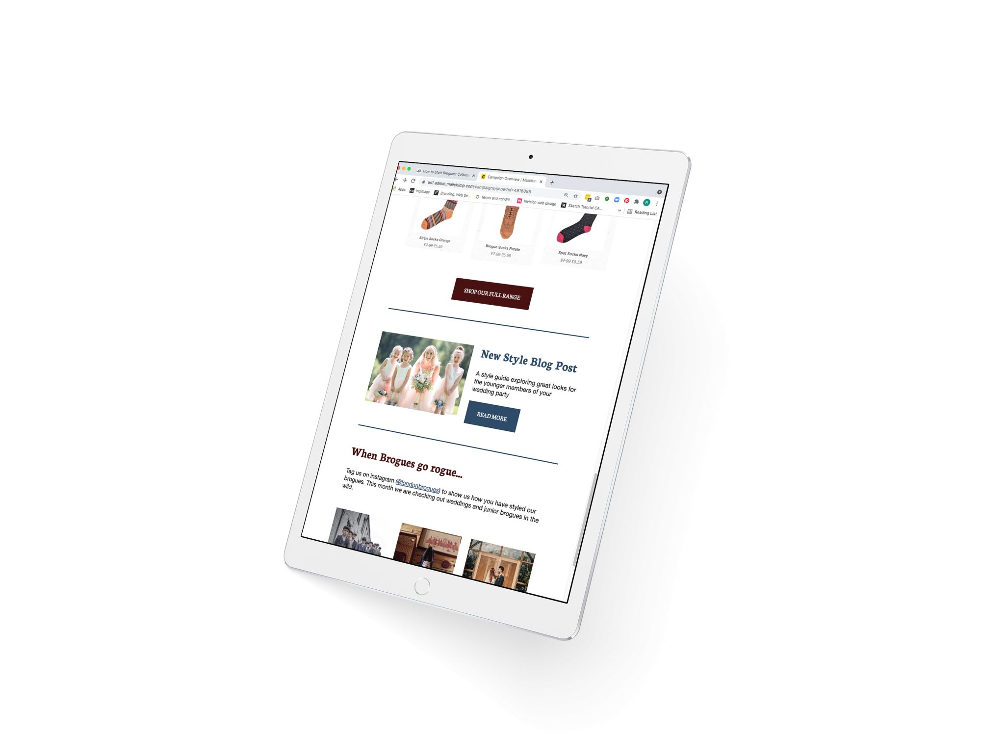 A White Ipad Pro displaying an email newsletter