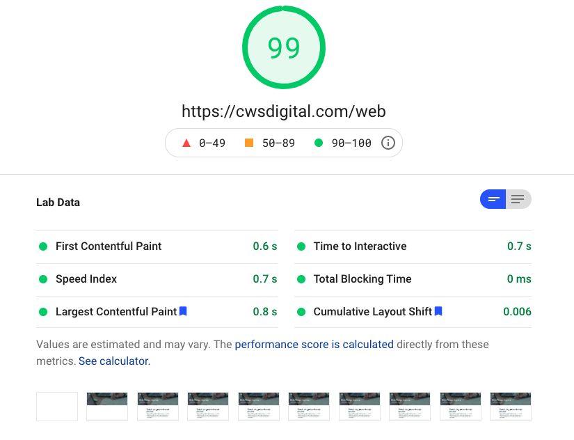Web Vitals & Speed Test