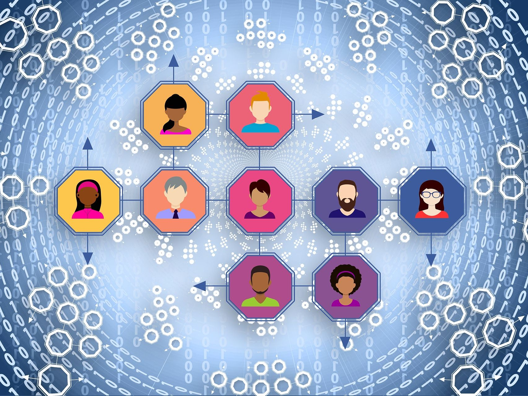 and illustration of a number of user profiles connected together