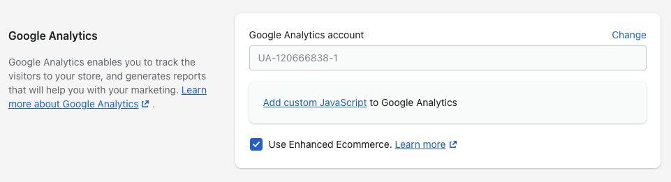 Shopify Google Analytics Setting with Advanced Ecommerce Option