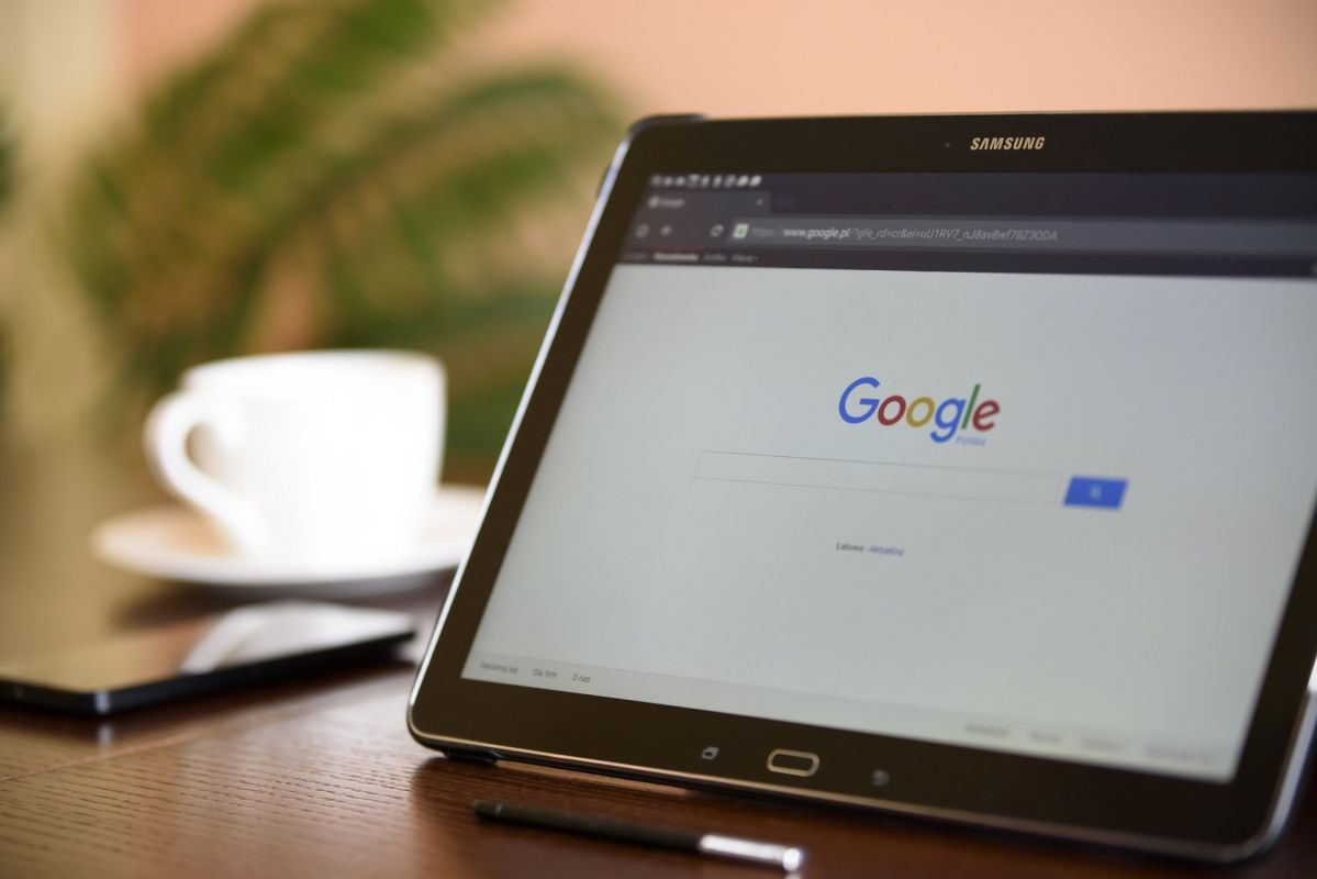 A tablet showing google