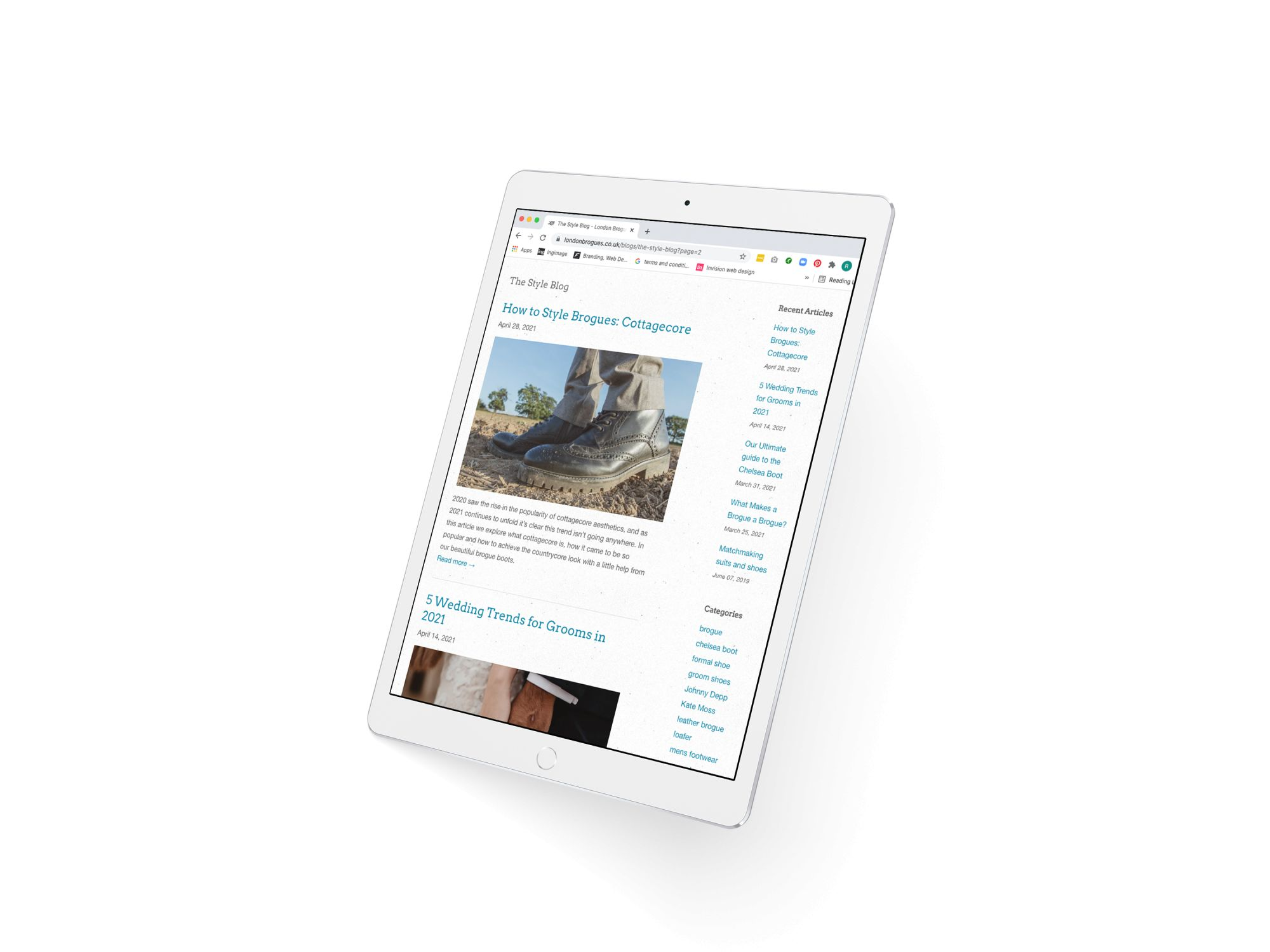 A white IPad with a blog landing page for London brogues visible