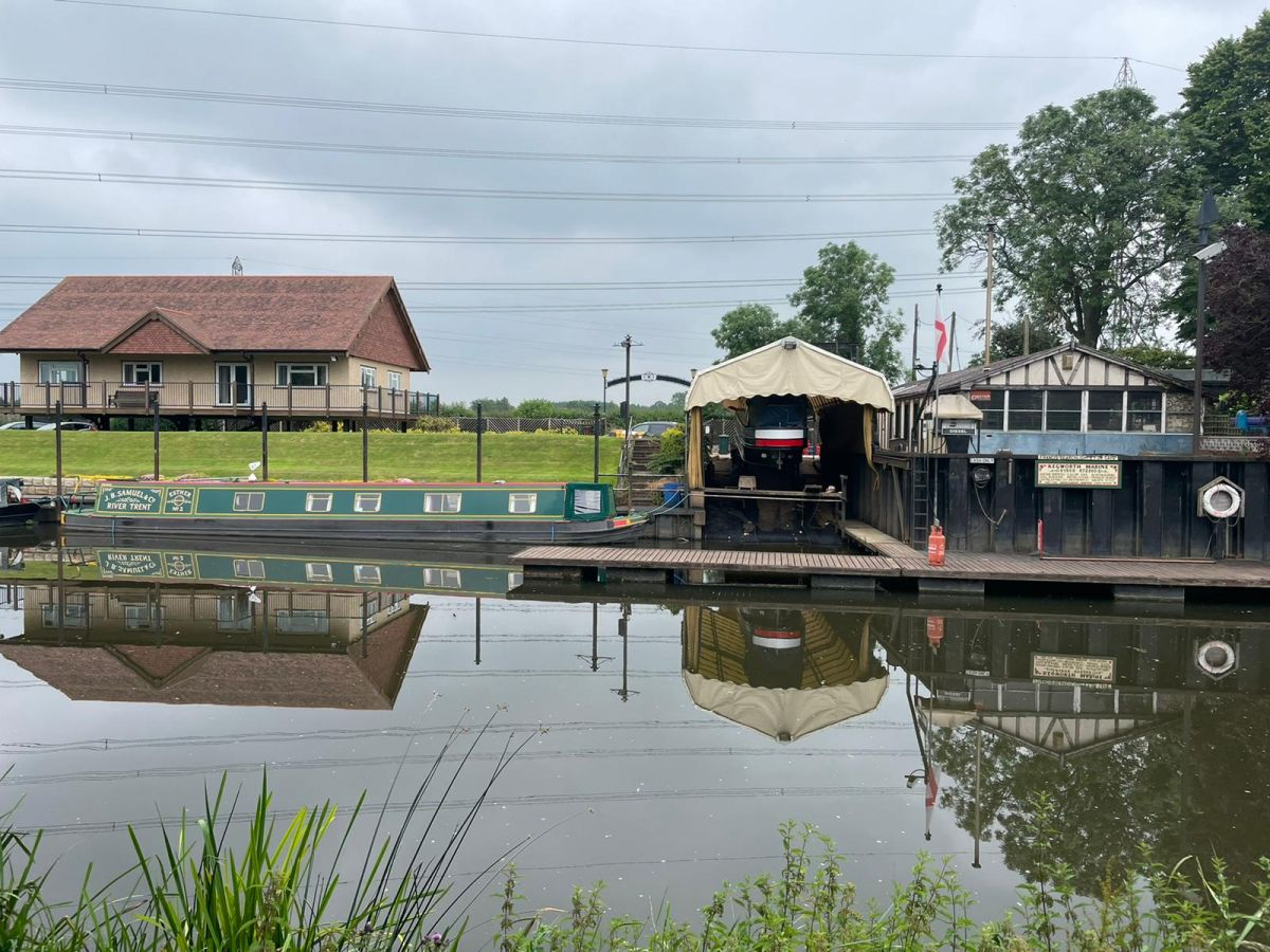 Kegworth marina and some narrow boats viewed across the canal