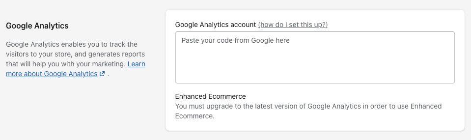 Shopify Analytics Code Setting